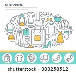 clothes shopping concept... | Shutterstock .eps vector #383258512