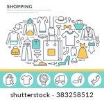 clothes shopping concept... | Shutterstock .eps vector #383258512