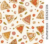 seamless colorful pizza slices... | Shutterstock .eps vector #383262106