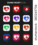 share heart icons set for icon...