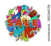 sale season. doodle cloth... | Shutterstock .eps vector #383266258