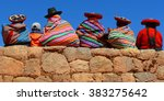 quechua ladies and a young boy... | Shutterstock . vector #383275642