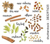 set of spices in the sketch .... | Shutterstock .eps vector #383297635