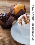 cup of cappuccino with fresh... | Shutterstock . vector #383297968