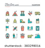 camping  hiking  wilderness ... | Shutterstock .eps vector #383298016