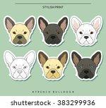 set goals sketch french bulldog ... | Shutterstock . vector #383299936