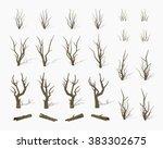 Dried Dead Trees. 3d Lowpoly...