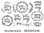 hand drawn spring wreaths with... | Shutterstock .eps vector #383304148