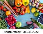 variety of fresh raw organic... | Shutterstock . vector #383310022