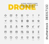 drone icons. set of 35 flat... | Shutterstock .eps vector #383317132