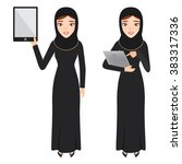 arab woman character use tablet ... | Shutterstock .eps vector #383317336