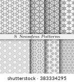 set of 8 seamless islamic... | Shutterstock .eps vector #383334295