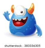 cute cartoon monster waving... | Shutterstock .eps vector #383336305