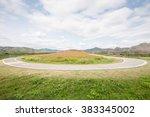bike lane and cosmos flowers... | Shutterstock . vector #383345002