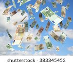 euro banknotes falling on blue... | Shutterstock . vector #383345452
