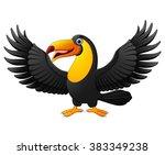 cartoon funny toucan isolated... | Shutterstock . vector #383349238