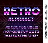retro alphabet font. metallic... | Shutterstock .eps vector #383353402