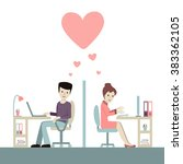 work romance between two... | Shutterstock .eps vector #383362105