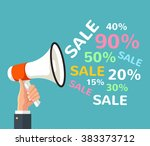 megaphone sign with sale text.... | Shutterstock .eps vector #383373712