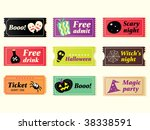 Retro Halloween Vector Tickets...