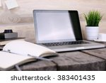 pc on wooden table | Shutterstock . vector #383401435