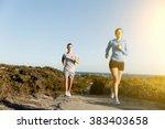 Sport Runner Jogging On Beach...