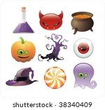 set of halloween glossy icons