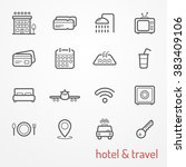 set of travel and hotel icons ... | Shutterstock . vector #383409106