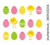 set of easter borders with eggs ... | Shutterstock .eps vector #383410216