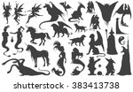 silhouette collection of... | Shutterstock .eps vector #383413738