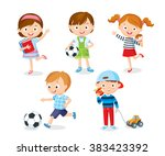 cute kids playing with toys ... | Shutterstock .eps vector #383423392