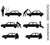 man fixing various car problem... | Shutterstock .eps vector #383424142