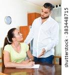 serious worried pair having... | Shutterstock . vector #383448715