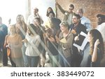 business people team applauding ... | Shutterstock . vector #383449072