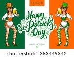 cute girl serving saint patrick'... | Shutterstock .eps vector #383449342