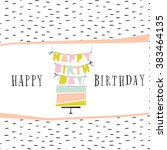 cute happy birthday card with... | Shutterstock .eps vector #383464135