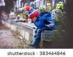 Sad Little Boy  Sitting On A...