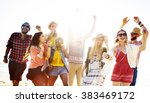 teenagers friends beach party... | Shutterstock . vector #383469172