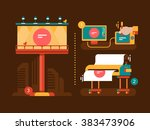 Process of creation outdoor advertising | Shutterstock vector #383473906