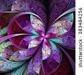 purple fractal butterfly or... | Shutterstock . vector #383484256
