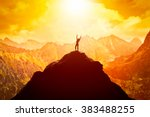 happy woman with hands up on... | Shutterstock . vector #383488255