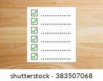 checklist is true on notebook... | Shutterstock . vector #383507068