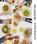 view from above the table of...   Shutterstock . vector #383509786
