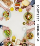above view of dinner table | Shutterstock . vector #383510908