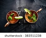 Two moscow mules shot in flat...