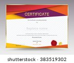 diploma certificate template... | Shutterstock .eps vector #383519302