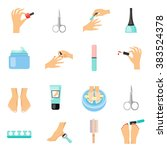 manicure and pedicure flat...   Shutterstock .eps vector #383524378