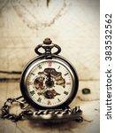 vintage clock on antique map.... | Shutterstock . vector #383532562