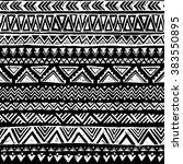 black and white tribal doodle... | Shutterstock .eps vector #383550895