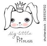 cute rabbit girl vector... | Shutterstock .eps vector #383552932